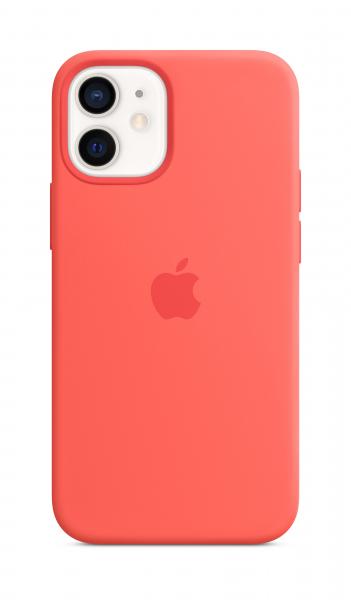 Apple Silikon Case iPhone 12 mini mit MagSafe zitruspink